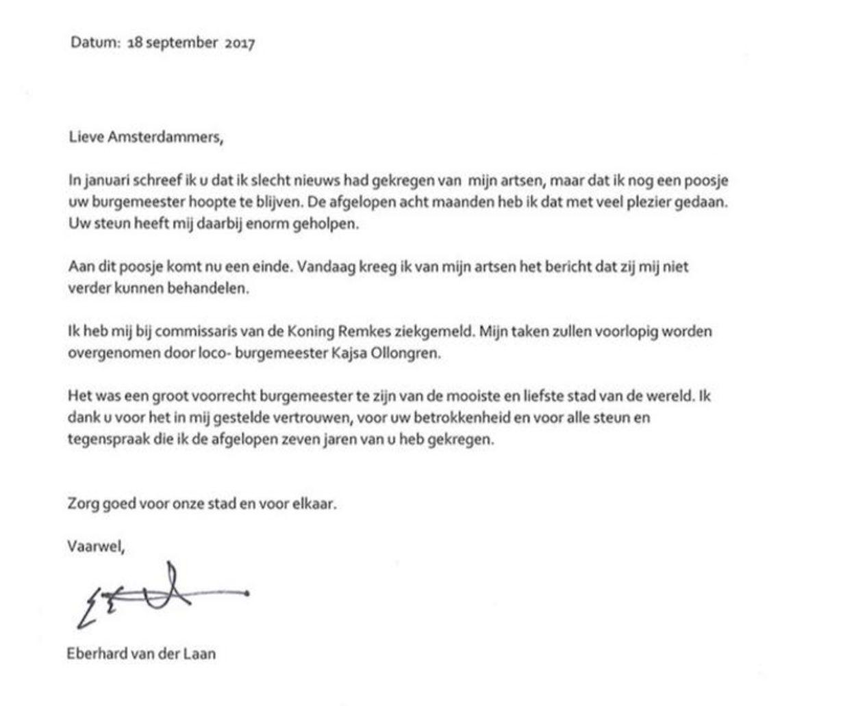 Brief Eberhard van der Laan