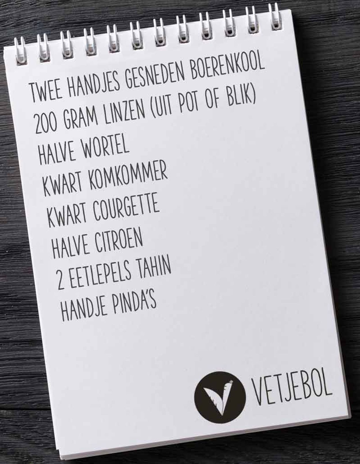Vetjebol boodschappenlijstje vegan salade to go