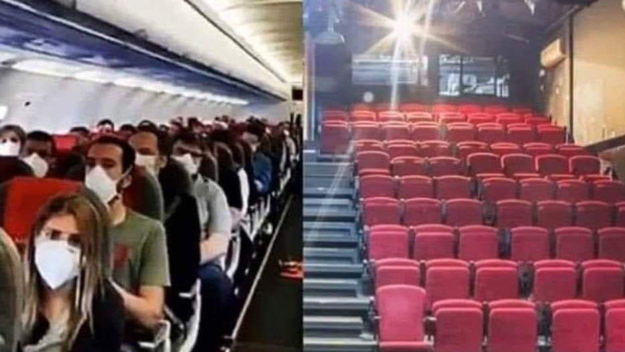 Afbeelding van Waarom hoef je in het vliegtuig geen 1,5 meter afstand te houden? En in theaters wel?